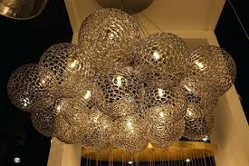 Wrought Iron Orb Chandelier Shakuff Perforated Glass Globe