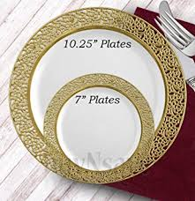 wedding plate buynsave white with gold heavyweight plastic
