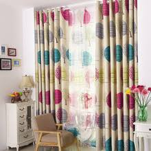 Kids Bedroom Blackout Curtains Fresh Gold Green Color Polyester Semi Blackout Bay Window Curtain