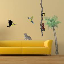 orangutan toucan giant wall sticker for jungle themed rooms