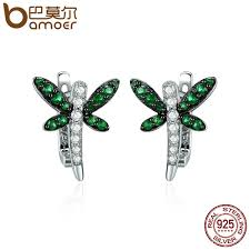 whispers earrings bamoer authentic 925 sterling silver dragonfly whispers clear cz