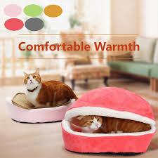 hamburger pet cat bed soft puppy cushion house warm kennel