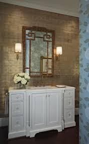 Bamboo Wall Cabinet Bathroom Gorgeous Bathroom With Gold Metallic Wallpaper And Bamboo Mirror