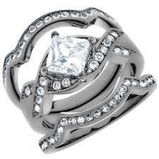 stainless steel wedding rings artk2741 women s 2 2 ct princess cut cz light black stainless