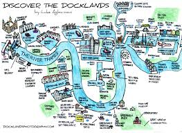 London On Map Hand Drawn Map Of London Docklands Maps Pinterest London