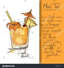 vintage martini illustration illustration hand drawn mai tai cocktail stock vector 158239787