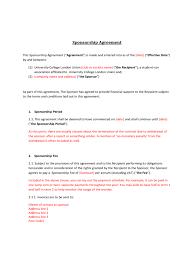 doc 460595 event sponsorship agreement template u2013 sponsorship
