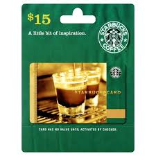 15 gift cards starbucks gift card