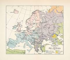 Italy France Map by 1904 Lithograph Map Europe Religion Spain England France Italy