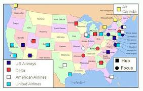 united airlines hubs airline hubs of north america kids maps