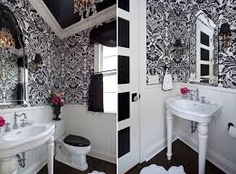 bathroom black and white bathroom with geometric wallpaper also
