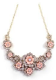 pink necklace images Elegant pink flowercage rhinestone bib necklace pendant jpg