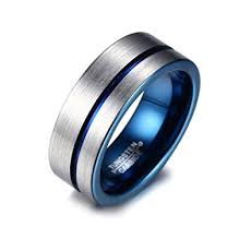 mens blue wedding bands 8mm men s blue tungsten wedding band ring comfort fit flat domed