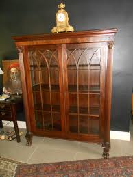 Narrow Mahogany Bookcase by Victorian Gothic Arches 19th Century Antique Mahogany Bookcase