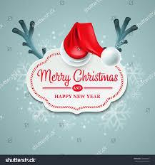 christmas card santa claus hat reindeer stock vector 226846867