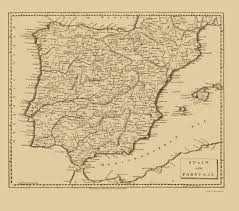 Map Spain Old Iberian Peninsula Map Spain And Portugal Thomas 1812 23