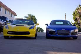 corvette vs audi r8 chevrolet corvette c7 vs audi r8 v10 exhaust sounds
