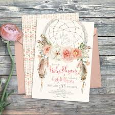 instant download baby shower invitations dreamcatcher boho baby shower invitation digital printable