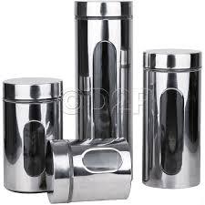 4pc stainless steel tea coffee pasta sugar kitchen glass jar