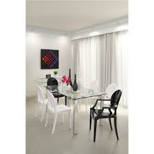 Dining Room Glass Tables Modern Tempered Glass And Stainless Steel Tube Leg 59