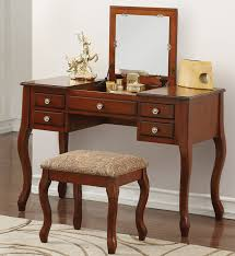 mirrored bedroom vanity table park place cherry dressing table with flip top mirror