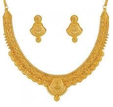 gold necklace earrings set images Gold fancy necklace set ajns51176 22k gold indian hand crafted jpg