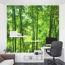 black bamboo wall mural on white painted wall together with white cool bamboo wall mural design along with white lacquered desk with storage shelf together black tile