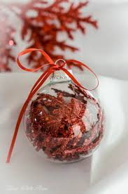 decorated clear glass ornaments using sparkling floral picks