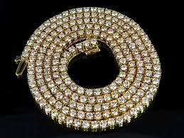 Diamond Chandelier Necklace 10k Yellow Gold Genuine Diamond One Row Tennis Chain Necklace 13 7