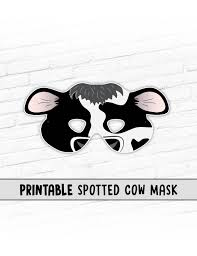 cow printable party mask spotted cow black and white cow