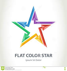 flat color 3d star logo arrows colorful star shaped vector