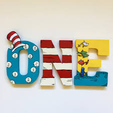 Decorating Wooden Letters Dr Seuss Cat In The Hat Birthday Decorations Wood Letters