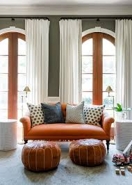 Living Room With Orange Sofa Persimmon Orange Roll Arm Sofa Transitional Living Room
