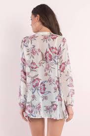 print blouse ivory multi blouse front tie blouse white blouse 17