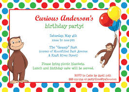 template curious george picture birthday invitations plus