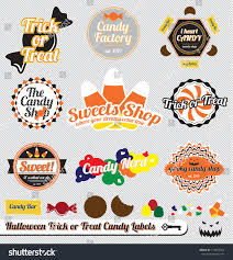 halloween lables vector set vintage trick treat halloween stock vector 114807364