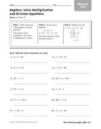solve multiplication and division equations reteach 12 4 5th