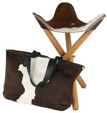 cowhide and leather seat folding stool on timber legs temples