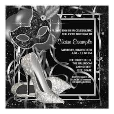personalized black white masquerade party invitations