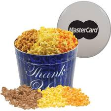 promotional 2 gallon butter caramel and cheese popcorn tins with