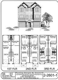 Duplex House Plans For Narrow Lots Upper Floor Plan For T 411 Triplex Rowhouse Townhome Condo