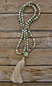 beaded necklace with tassel images Long tassel necklace with multi color jadeite round beads and jpg