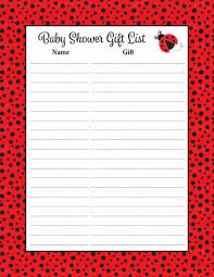 baby shower gift list ladybug baby shower theme for baby