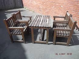 Patio Set Wood 5 Piece Garden Pub Patio Set Wood Table 4 Craver Chairs Used Needs