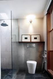 simple bathroom design cement patio