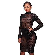 sequined perspective nightclub dress solid black women