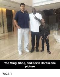 Kevin Heart Memes - yao ming shaq and kevin hart in one picture woah kevin hart meme