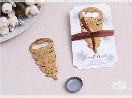 bottle opener favors gilded gold feather bottle opener souvenir for birthday