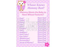 pink owl baby shower invitations pink owl baby shower game for who knows mommy best game
