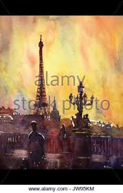 watercolor painting of eiffel tower paris france stock photo